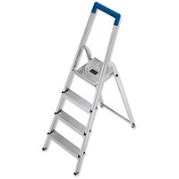 Folding Aluminium Ladder - 4 Non Slip Ribbed Steps