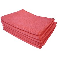 5 Star Microfibre Cloths, Multisurface, Red, Pack of 6