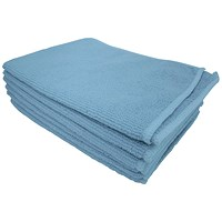 5 Star Microfibre Cloths, Multisurface, Blue, Pack of 6