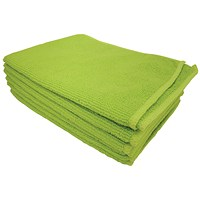 5 Star Microfibre Cloths, Multisurface, Green, Pack of 6