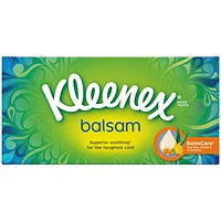 Kleenex Balsam Facial Tissues Box, 3-Ply with Protective Balm, 64 Sheets