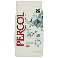 Percol Cafe Americano Fairtrade Organic High Roast Ground Arabica Coffee - 200g