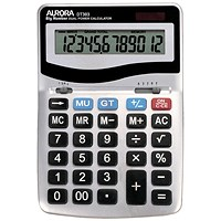 Aurora Desktop Calculator, 12 Digit, 4 Key, Battery/Solar Power, Silver