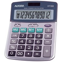 Aurora Semi-desk Calculator, 12 Digit, 3 Key, Battery/Solar Power, Grey