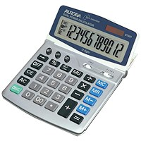 Aurora Desktop Calculator, 12 Digit, 4 Key, Battery/Solar Power, Grey