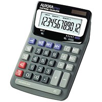 Aurora Desktop Calculator, 12 Digit, 2x3 Key, Battery/Solar Power, Black