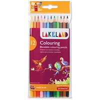 Lakeland Colouring Pencils, Round-barrelled, Soft Blendable, Assorted Colours, Pack of 12