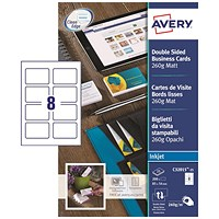 Avery Quick & Clean Inkjet Matt Business Cards, 85mm x 54mm, 8 per Sheet, 260gsm, Pack of 200
