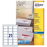 Avery Quick DRY Inkjet Addressing Labels / 21 per Sheet / 63.5x38.1mm / White / J8160-25 / 525 Labels
