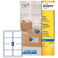 Avery Quick DRY Inkjet Addressing Labels, 8 per Sheet, 99.1x67.7mm, White, J8165-25, 200 Labels