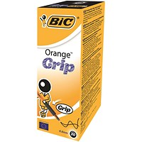 Bic Orange Grip Ball Pen, Black, Pack of 20