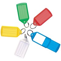 5 Star Sliding Key Fob, Coloured Label Holder, Medium, Assorted, Pack of 10
