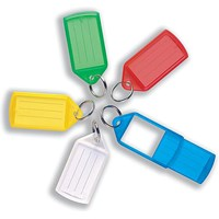 5 Star Key Hanger Sliding Fob Label Area 55x30mm Tag Size Large 75x37mm Assorted [Pack 10]