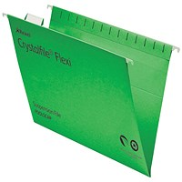 Rexel CrystalFiles FlexiFiles Suspension Files, V Base, 15mm Capacity, Foolscap, Green, Pack of 50