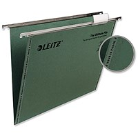 Leitz Ultimate Recycled Suspension Files with Tabs & Inserts, V Base, 15mm Capacity, Foolscap, Green, Pack of 50