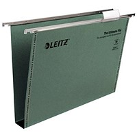 Leitz Ultimate Recycled Suspension Files with Tabs & Inserts, Square Base, 30mm Capacity, Foolscap, Green, Pack of 50