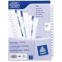 Avery Index Dividers, Unpunched, 1-20, A4, White, Pack of 5