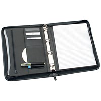 5 Star Zipped Conference 4 Ring Binder, W254xH360mm, Black