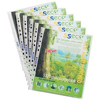 SSeco A4 Punched Pockets, Oxo-biodegradable, Pack of 100