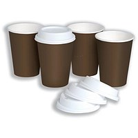 Coffee Cup and Drink Through Lid Combi Pack, 296ml, Pack of 50