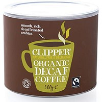Clipper Fairtrade Organic Instant Decaffeinated Freeze Dried Coffee Granules - 500g Tin