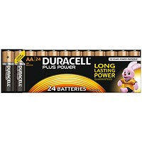 Duracell Plus Power Alkaline Battery, 1.5V, AA, Pack of 24