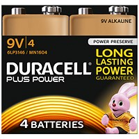 Duracell Plus Power Alkaline Battery, 9V, Pack of 4