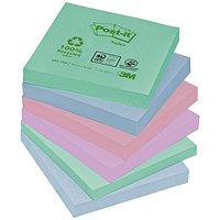 Post-it Recycled Notes, 76x76mm, Pastel Rainbow, Pack of 12 x 100 Notes