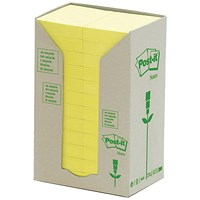 Post-it Recycled Notes Tower Pack, 38x51mm, Pastel Yellow, Pack of 24