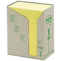 Post-it Note Recycled Tower Pack, 76x127mm, Pastel Yellow, Pack of 16