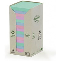 Post-it Recycled Notes Tower Pack, 76x76mm, Pastel Rainbow, Pack of 16