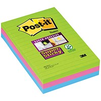 Post-it Super Sticky Removable Notes, 102x152mm, Ultra Assorted, Pack of 3 x 90 Notes