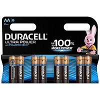 Duracell Ultra Power MX1500 Alkaline Battery, 1.5V, AA, Pack of 8