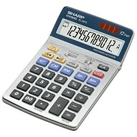 Sharp Desktop Calculator, 12 Digit, 4 Key, Battery/Solar Power, Grey