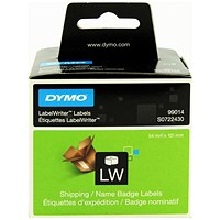 Dymo Labelwriter Labels Name Badge and Shipping 54x101mm White Ref 99014 S0722430 [Pack 220]