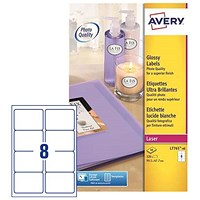 Avery Colour Laser Addressing Labels, 8 per Sheet, 99.1x67.7mm, L7765-40, 320 Labels