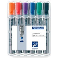 Staedtler Lumocolor Flipchart Markers, Water-based, Bullet Tip, Assorted Colours, Pack of 6