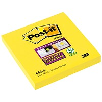 Post-it Super Sticky Notes, 76x76mm, Yellow, Pack of 12 x 90 Notes