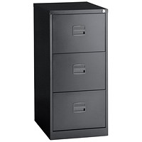 Trexus Foolscap Filing Cabinet, 3-Drawer, Black