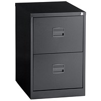 Trexus Foolscap Filing Cabinet, 2-Drawer, Black