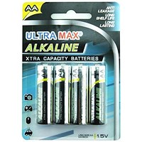 Everyday Alkaline Batteries, AA, Pack of 4