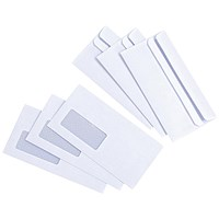 Everyday DL Envelopes, Window, White, Press Seal, 80gsm, Pack of 1000