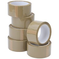 Everyday Packaging Tape, 50mmx66m, Buff, Pack of 6