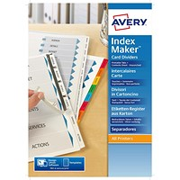 Avery IndexMaker Dividers, Unpunched, 5-Part, Clear Tabs, A4, White