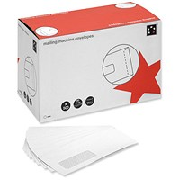 5 Star DL Mail Machine Envelopes with Window, Gummed, 90gsm, White, Pack of 500