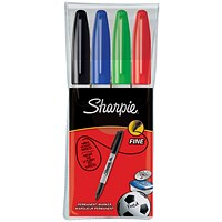 Sharpie Permanent Marker, Fine, Assorted Colours, Pack of 4