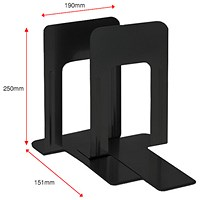 5 Star Large Metal Bookends, Black, Pack of 2