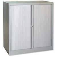 Trexus Medium Side Opening Tambour Cupboard, 1000mm High, Grey
