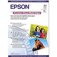 Epson A3 Premium Glossy Photo Paper / White / 255gsm / Pack of 20