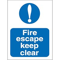 Stewart Superior Fire Escape Keep Clear Sign W150xH200mm Self-adhesive Vinyl